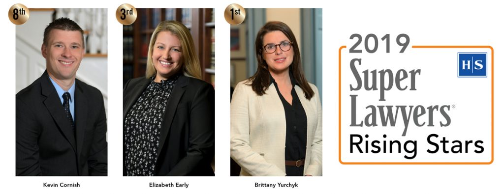 2019 High Swartz Super Lawyers Rising Stars Kevin Cornish Elizabeth Early Brittany Yurchyk of Norristown PA